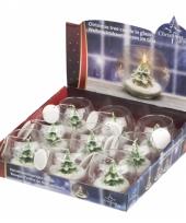 Kerstboom kaars in glas 10 x 8 cm trend