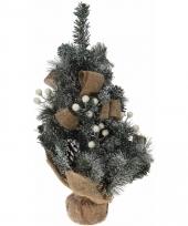 Kerstboom met jute versiering wit 50 cm trend