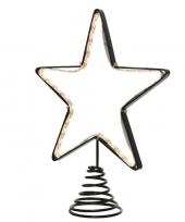 Kerstboom piek met led ster verlichting 22 cm trend