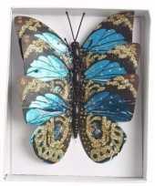 Kerstboom versiering vlinders blauw type 2 trend