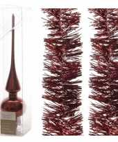 Kerstboomversiering set donkerrode piek en 2x folieslingers 270 trend