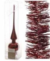 Kerstboomversiering set donkerrode piek en 3x folieslingers 27 trend