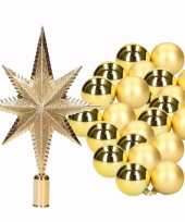 Kerstboomversiering set goud met 36 kerstballen en ster piek trend