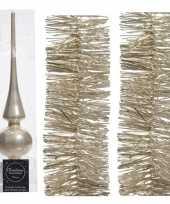 Kerstboomversiering set parel champagne piek en 2x folieslingers trend