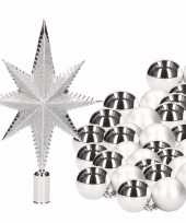 Kerstboomversiering set zilver met 36 kerstballen en ster piek trend