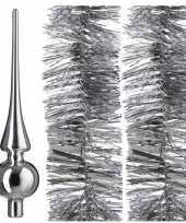 Kerstboomversiering set zilveren piek en 2x folieslingers 270 cm trend