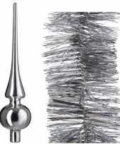 Kerstboomversiering set zilveren piek en 3x folieslingers 270 cm trend