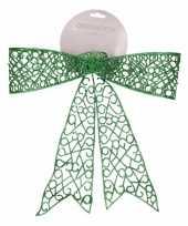 Kerstdecoratie strik groen 36 cm trend