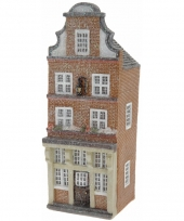 Kerstdorp huisje bruine amsterdamse gevel 16 cm trend 10091483