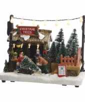 Kerstdorp maken kersthuisje kerstbomen boer met led licht 18 cm trend