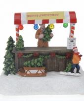 Kerstdorp maken verkoopstalletje met led licht kerstboom trend