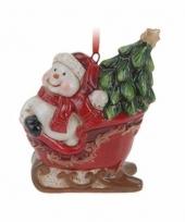 Kersthanger sneeuwpop in slee 8 cm trend