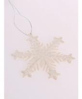 Kersthanger sneeuwvlok gebroken wit glitter trend