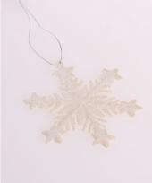 Kersthanger sneeuwvlok wit glitter type 1 trend