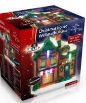 Kersthuisje cafe led kerst decoratie 9 x 6 x 9 cm trend