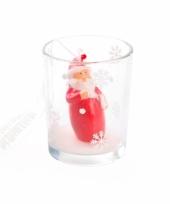 Kerstkaarsje kerstman in glas trend