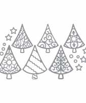 Kerstkaarten stickers zilveren kerstbomen trend