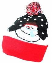 Kerstkado muts met sneeuwpop trend