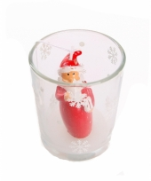 Kerstman kaarsje in glas 6 5 cm trend