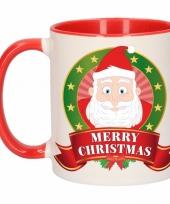 Kerstontbijt theebeker rood wit kerstman 300 ml trend