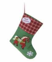 Kerstsok groen met paard type 2 20 cm trend
