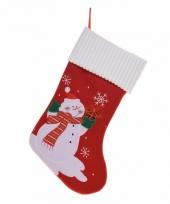 Kerstsok met sneeuwpop 46 cm trend