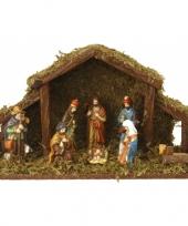 Kerststal met verlichting en 8 figuren trend