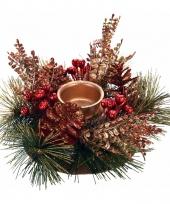 Kerststukje rood goud 25 cm trend