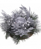 Kerststukje zilver25 cm trend