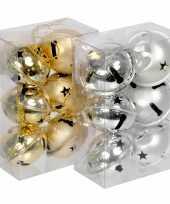 Kerststukje zilveren belletjes 6 stuks trend