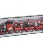 Kersttrein groen rood van hout 25 cm trend