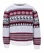 Kersttrui voor kinderen met nordic print wit trend