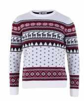 Kersttrui voor volwassenen met nordic print wit trend