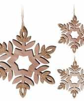 Kerstversiering hout sneeuwvlok hangers 12 cm 2 stuks trend