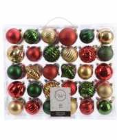Kerstversiering kerstballen set dennen groen goud rood 60 delig trend