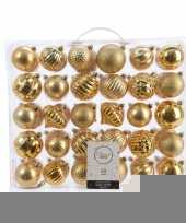 Kerstversiering kerstballen set goud 60 delig kunststof trend