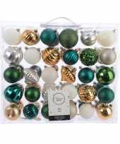 Kerstversiering kerstballen set groen goud zilver wit 60 delig trend