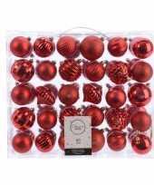 Kerstversiering kerstballen set rood 60 delig kunststof trend