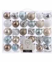 Kerstversiering kerstballen set zilver champagne blauw bruin 60x trend