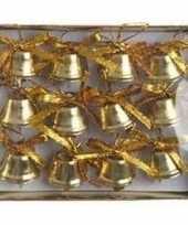 Kerstversiering kerstbelletjes goud 12 stuks trend
