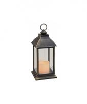 Kerstversiering lantaarn zwart 31 cm trend