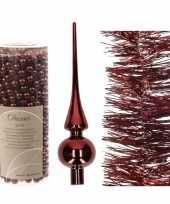 Kerstversiering set donkerrode piek folieslinger en kralensli trend