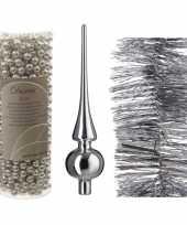 Kerstversiering set zilveren piek folieslinger en kralenslinger trend