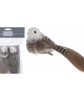 Kerstversiering vogeltjes bruin wit op clip 2 stuks trend
