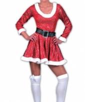 Kerstvrouw jurk met muts rood trend