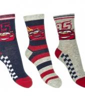 Kinder cars thema sokken 3 pak navy grijs trend