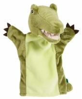 Kinder handpoppen groene krokodil 22 cm trend
