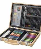 Kinder kleurtjes set in houten koffer trend