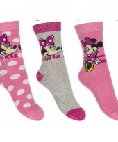 Kinder minnie mouse thema sokken 3 pak lichtroze trend