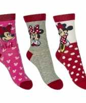Kinder minnie mouse thema sokken 3 pak rood trend